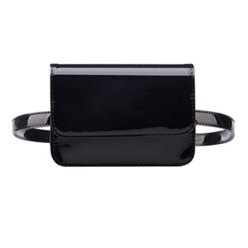- Queena Women Shiny Patent Leather Fanny Bag Elegant Belt Bag Black