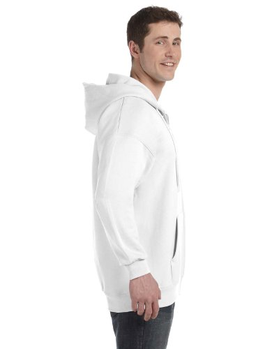 Pullover Cotton Ultimate Hooded (Hanes Men's Ultimate Cotton Heavyweight Full Zip Hoodie_White_M)