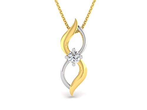 Or Jaune 14 ct Pendentifs Diamant , 0.05 Ct Diamant, GH-SI, 0.49 grammes.