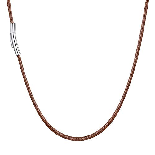 2mm Brown Leather Cord Necklace - U7 Braided Leather Cord Necklace with