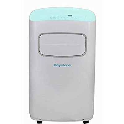 Keystone KSTAP14CL 14,000 BTU 115V Portable Air Conditioner with Remote Control, White/Blue