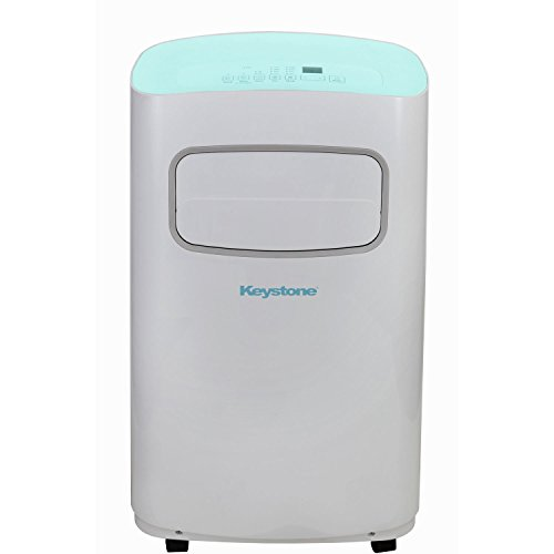 Keystone KSTAP12CL 115V Portable Air Conditioner with Remote Control in White/Blue for Rooms up to 300-Sq. Ft.