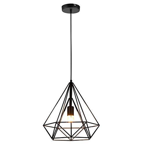 Lámpara Iluminación colgante Moderna jaula,Iluminación Suspensión industrial Loft luz Edison E27 Lámpara Colgante…