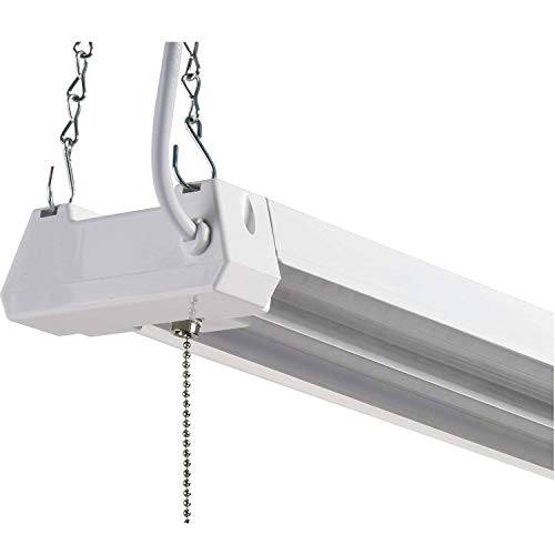 LED 4ft Utility Shop Light-40W, 4000K, Nonlinkable, Frosted Lens, 4100LM, Replaces 4 Foot Fluorescent, Garage Shoplight Ceiling Fixture, Pull Cord Chain, Plug In