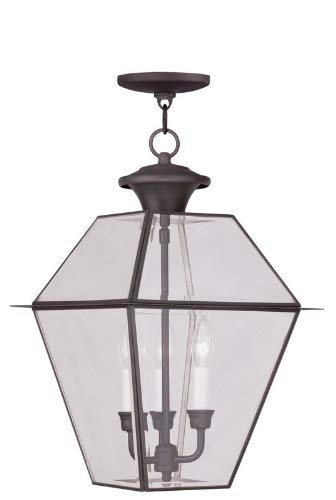 (Livex Lighting 2385-04 Westover 3-Light Outdoor Hanging Lantern, Black)