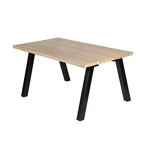 Mesa de Comedor - Modelo BORDEOS - Color Roble/Negro - Material MDF/Metal - Medidas 160 x 90 x 77 cm