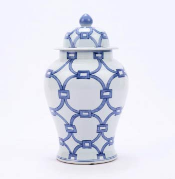 Legends of Asia Asian Inspired Modern Blue & White Lover Locks Temple Jar