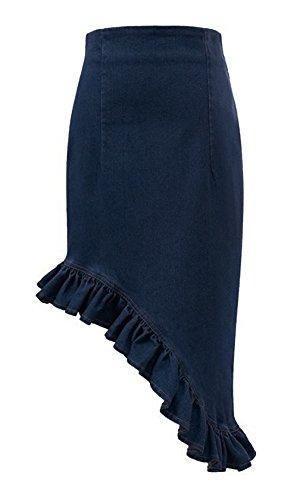 Women's Irregular Design High Waist Flounced Denim Mermaid Skirt (XL, Deep blue)