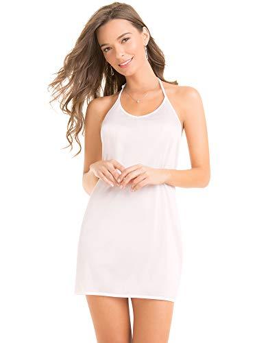 Ilusion 2023 - Women's Antistatic Halter V-Cut Mini Skirt Slip (White, Size Medium)