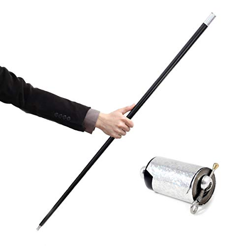 Magic Staff - OUERMAMA Black Metal Appearing Cane with Video Tutorial - Stage Magic Trick