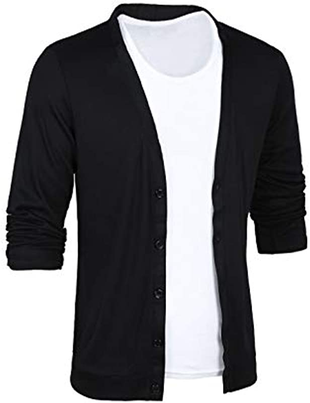 Allegra K wycięcie w kształcie V męska z długim rękawem guzik Slim Fit Cardigan koszula rekreacyjna: Odzież