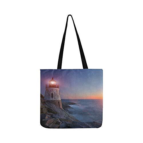 Newport Wallet Canvas - Lighthouse Sunset Ocean View Canvas Tote Handbag Shoulder Bag Crossbody Bag Surdy Tote Bag For Men Women Teen-girls Shopping Laptop Shipping