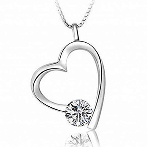 (Hollow Sparkly Gift Chain Heart Love-Shaped Zircon Pendant Jewelry)