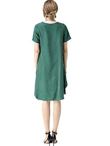 vestido Fuweiencore color Verano Palabra vestido Y De color S Vestido Moda Tamaño A Sólido Primavera Verde WrrwnRqB