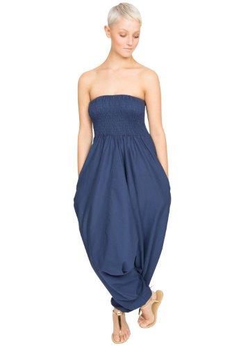 Cotton Maxi Harem Pants Romper Jumpsuit Royal Blue, One szie fit size 6 - 16 ()
