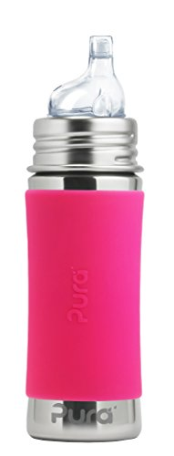 Pura Kiki 11 oz / 325 ml Stainless Steel Sippy Cup with Silicone XL Sipper Spout & Sleeve, Pink (Plastic Free, NonToxic Certified, BPA Free)