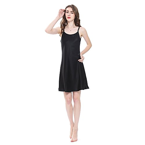 LilySilk Real Silk Nightgowns for Women Charmeuse 100 Real 16 Momme Silk Short Sexy Chemise Ladies Lingerie Petite Black S/4-6