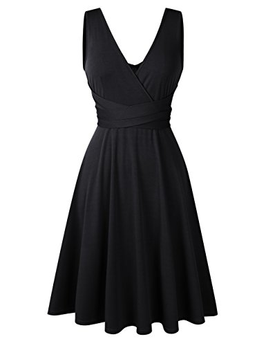 Women Plus Size Sleeveless V Neck Empire Ruched Waist Fit Summer Sun Cocktail Party Dress ()