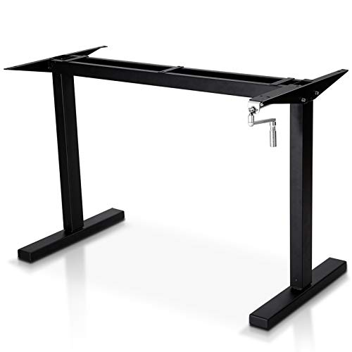 Smile Back Height Adjustable Standing Desk Frame,Sit Stand Desk Frame, Manual Crank Desk Frame, Ergonomic Workstation, Conversion Kit,No Table top