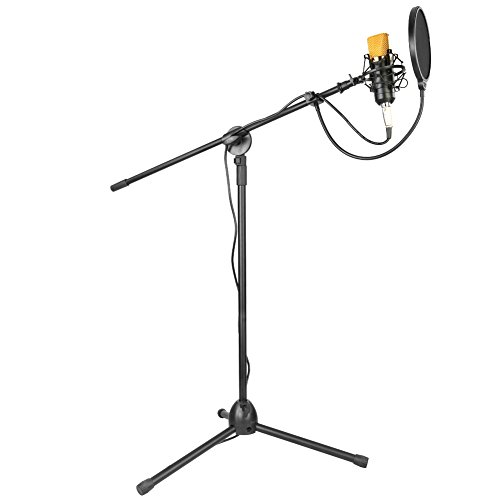 Neewer Professional Studio Broadcasting / Recording NW-700 Condenser Microphone & NW-107 Folding Type Height Adjustable Microphone Tripod Boom Floor Stand Kit