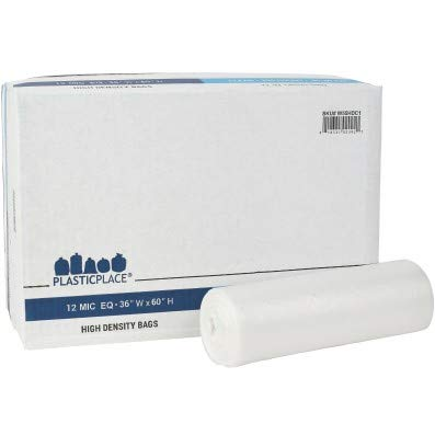 Plasticplace 55-60 gallon Trash Bags │ 12 Microns │ Clear High Density Garbage Can Liners │ 36