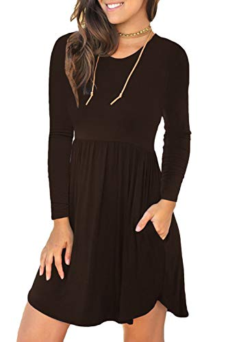 c2caab7b825876 Unbranded* Women's Long Sleeve Loose Plain Dresses Casual Short Dress with  Pockets Coffee X-