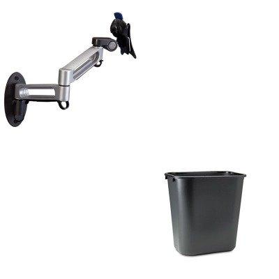 KITBLT66582RCP295600BK - Value Kit - Balt Dual Arm Wall Mount (BLT66582) and Rubbermaid-Black Soft Molded Plastic Wastebasket, 28 1/8 Quart (RCP295600BK) by Balt
