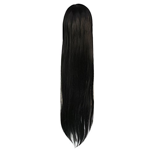 Womens Fashion Long Straight Fringe Black Hair Wig Party Cosplay Tools 100cm