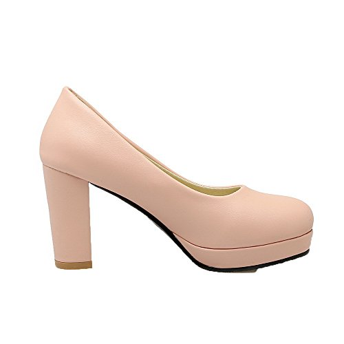 Allhqfashion Dames Effen Pu Hoge Hakken Pull-on Ronde Neus Pumps-schoenen Roze