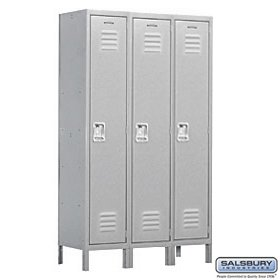(Salsbury Industries Assembled 1-Tier Extra Wide Standard Metal Locker with Three Wide Storage Units, 6-Feet High by 18-Inch Deep, Gray)