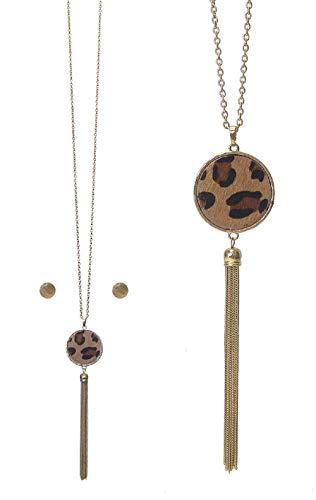 - Leopard Tassel Necklace Earring Set B1 Long Animal Print Gold Tone