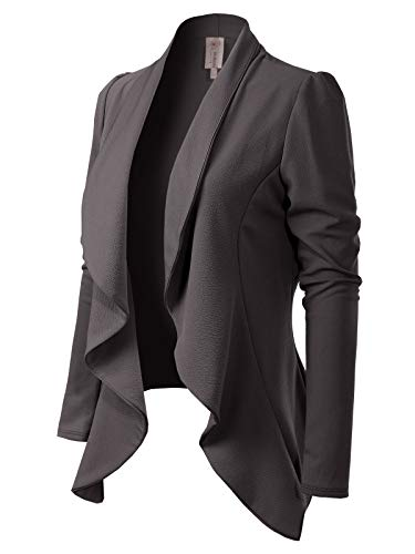 (MixMatchy Women's [Made in USA] Solid Formal Style Open Front Long Sleeves Blazer (S-3X) Charcoal S)