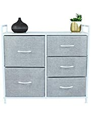 5 Drawer Dresser, Closet Storage Organizer, TV Stand, and Night Table - Chest of Drawers for Bedroom, Nursery Dresser, Nursery Closet, Foyer, Office Storage, Dorm and More