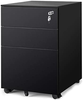 DEVAISE Locking File Cabinet, 3 Drawer Rolling Pedestal Under Desk, Fully Assembled Except Casters, Black