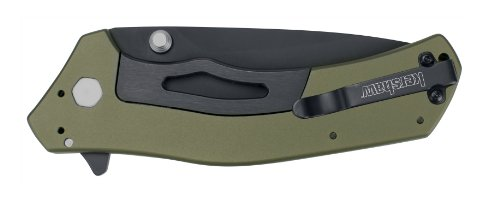 """Kershaw Knockout Olive/Black (1870OLBLK); 3.25"""" DLC-Coated 14C28N Steel Blade and Anodized Aluminum Handle with SpeedSafe Opening, Flipper, Sub-Frame Lock and 4-Position Deep-Carry Pocketclip: 3.5 OZ"""