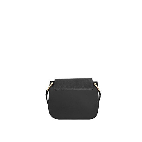 Borsa a Tracolla Bonnie Borsa in Vera Pelle Liscia e Camoscio Made in Italy Maison Bag 22x24x8 cm Nero