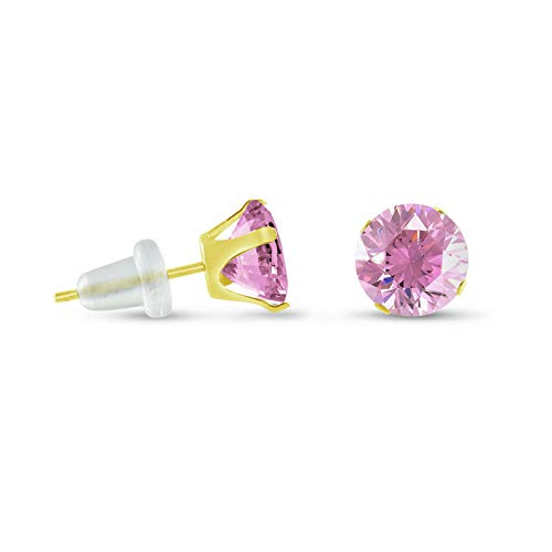(Crookston Solid 10K Yellow Gold Round Pink Stud Earrings - Choose Your Size 2mm - 10mm | Model ERRNGS - 14572 | 7mm - Extra)