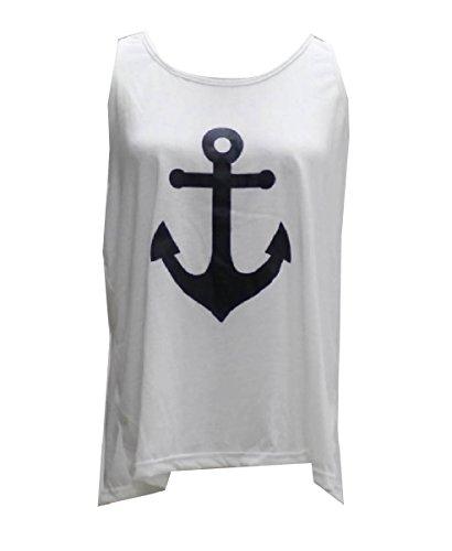 強風詩規則性Nicellyer コットンアンカーボウ海軍ウィンドベストタンクトップシャツ痩身の女性