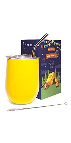 (Wine Tumbler 12 Oz With Lid, Straw & Brush, Stainless Steel Double Wall Insulated Wine Glass, Perfect For Indoor & Outdoor, Beach & Camping, Best Wine Gift, Great For Cold & Hot Drinks (yellow))