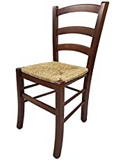 Totò Piccinni Krzesło Paesana Venezia z drewna bukowego, wysoka jakość, dł. 43 x szer. 48 x wys. 88 cm, 5 kg (drewno orzechowe, siedzisko słomy)