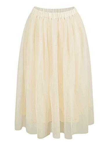 Joeoy Women's Apricot Elastic Waist Ballet Layered Princess Mesh Tulle Midi Skirt-L
