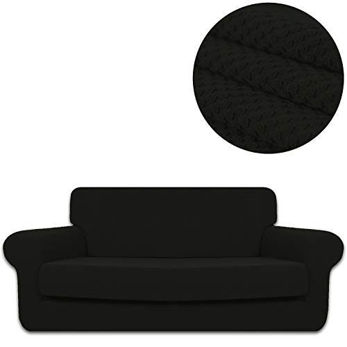 ANJUREN Sofa Loveseat Couch Chair Slipcover Cover with Separate Seat Cushion Cover 2 Piece 3 Seater T Cushion Sofa Slipcovers Knit Stretch Living Room Furniture Shield Protector (Sofa, Black) 3 Piece Sleeper Chair