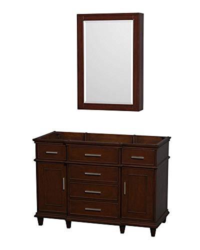 Wyndham Collection Berkeley 48-inch Dark Chestnut Single Vanity, 24-inch Medicine Cabinet