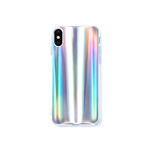 - HolaStar for iPhone X Unique Simple Case Psychedelic Glitter Holographic Colorful Rainbow Effect Soft TPU Cover for iPhone 10 with Luxury Iridescent Pattern and Clear Edge Look