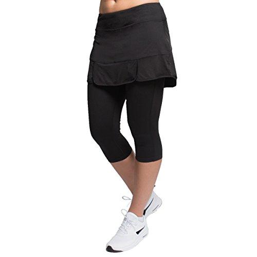 Skirt Elliptical - Alex + Abby Women's Plus-Size Endurance Skirted Capri Legging 3X Black