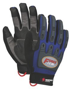 - 2XL Blue/Black ForceFlex Clarino Synthetic Leather Dry Grip Glove Pair