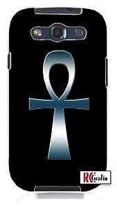 Egyptian Ank Ankh Tribal Egypt Cross Blue Smokey Chrome Unique Quality Soft Rubber TPU Case for Samsung Galaxy S4 I9500 - White Case