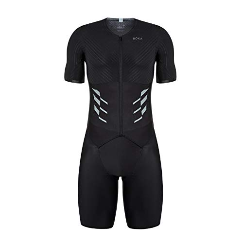ROKA Men's Gen II Elite Aero Short Sleeve Triathlon Sport Suit - Black - Medium/Tall