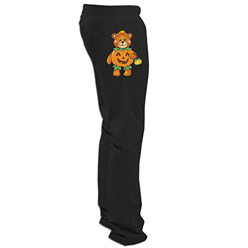 DETED Halloween Pumpkin Bear Workout Pants For Mens Black X-Large -