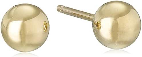10k Yellow Gold Ball 4mm Stud Earrings with Silicone covered Gold Pushbacks